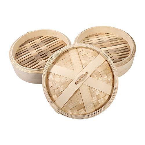 Steamer, Delaman 2 niveles Cesta de vapor de bambú Cesta de arroz natural chino Cocina con tapa Nueva 4 tamaños(22cm)