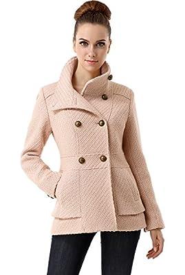 BGSD Women's Cheri Wool Blend Boucle Coat, Blush Pink, X-Small by