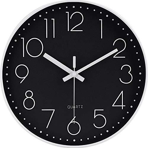 Reloj de pared redondo de 30 cm, moderno, de cuarzo, silencioso, para niños, oficina, números árabes, sin tictac, para decoración de salón, cocina, oficina, dormitorio, color blanco y negro