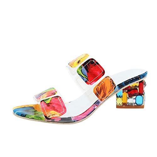 Sandales Compensées Femme,Honestyi Chaussures de Couleur Escarpins Mi-Talon Tongs de Plage Ete Sandales Strass Chaussures Talon Epais Shoes de Personnalité