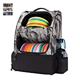 KGMCARE Disc Golf Backpack Camouflage Disc Golf Bag with 20+ Disc Capacity Carry Golf Bag for Disc Golf Starter Set Two Side Storage Pockets Disc Golf Backpack Bag Discs Not Included (Snow Camo)