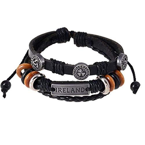 Armband,Armband Charms Männer Frauen Paar intage Perlen gewebt Lederarmband Armband 3 Stück (schwarz Hellbraun Dunkelbraun),Das Armband der Liebe