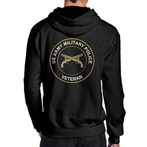 Us Army Veteran Military Police Man Man Big Logo Hoodie Hooded Sweater Slim Fit Long Sleeve Black