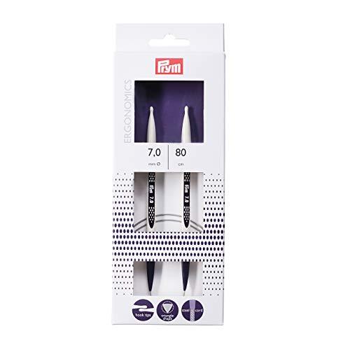Prym–Agujas de Tejer Circular (diseño ergonómico, Metal, Multicolor, 7mm, Longitud de 80cm