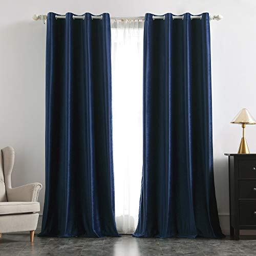 MIULEE 2 Panels Blackout Velvet Curtains Solid Soft Grommet Navy Blue Curtains Thermal Insulated Soundproof Room Darkening Curtains / Drapes / Panels for Living Room Bedroom 52 x 84 Inch