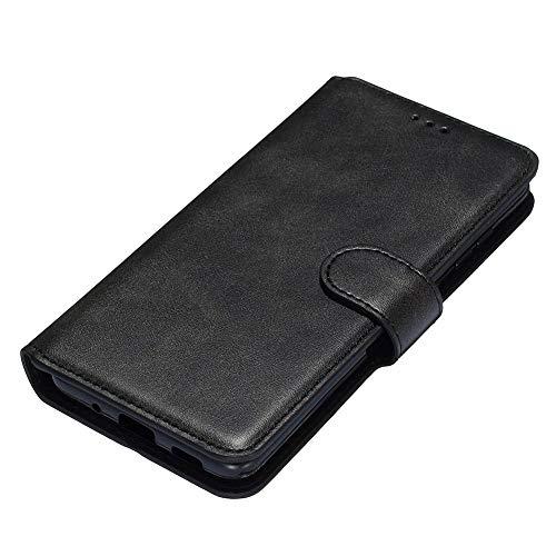 HAOTIAN Hülle für Xiaomi Redmi 9AT / Redmi 9A Hülle, Handyhülle Xiaomi Redmi 9AT / Redmi 9A Flip Brieftasche Schutzhülle, Premium Leder mit Ständer Funktion/Kartenfach/Magnetic Snap Cover, Schwarz