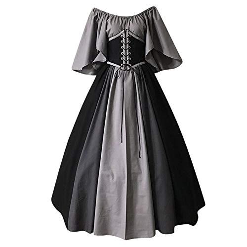 Mittelalter Kleid Damen Maxikleider Vintage Freien Schultern Korsett Swing Ausgestellte Ärmel Renaissance Halloween Karneval Cosplay Kostüm Prinzessinen Kleid Abendkleid