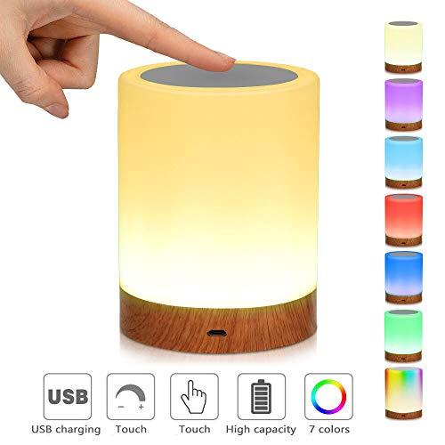 LED-Nachtlicht,Nachttischlampe Stimmungslicht,Smart Touch Control Nachtlicht,Dimmbar Wiederaufladbarer USB-Anschluss,RGB Farbwechsel-Modi für Kinder, Schlafzimmer, Camping (Warmweiß)