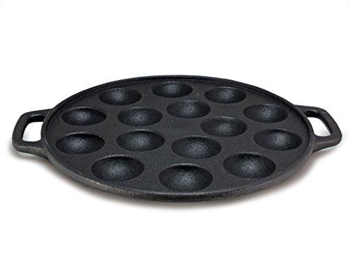 Poffertjespfanne aus Gusseisen, 24 x 2 cm (ØxH), für bis zu 15 Poffertjes