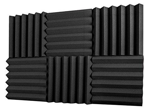 """6 Pack Acoustic Foam Panels 2"""" X 12"""" X 12"""" Fireproof - SGS Certified - Soundproofing Studio Foam Wed"""