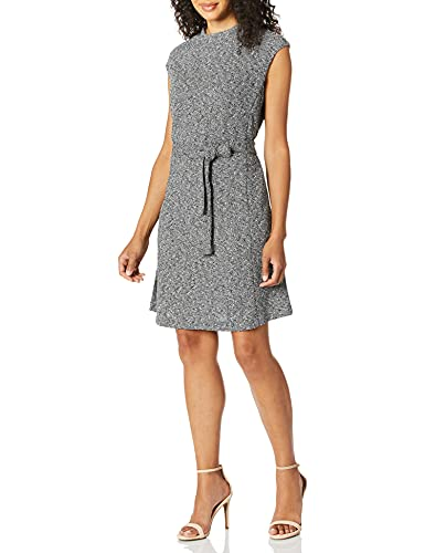 ELLEN TRACY Women's Cap Sleeeve Fit and Flare Dress, Black/White Combo, L