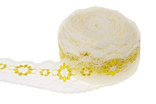 ATRibbons 25 Yards 1-1/2 Inches Wide Lace Trim Roll Gold Flower Pattern White Lace Fabric Ribbon for Sewing Making,Gift Wrapping and Bridal Wedding Decorations