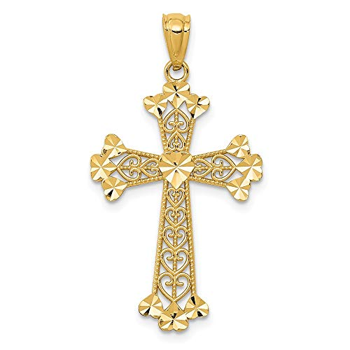 14k Yellow Gold Filigree Hearts Cross Religious Pendant Charm Necklace Budded Love With Fine Jewelry For Women Gifts For Her