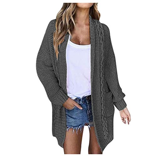 New FEDULK Womens Knit Cardigan Sweater Open Front Slouchy Oversized Wrap Fashion Casual Coat Tops (...