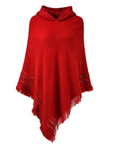 Ferand Damen Kapuzen Poncho mit Häkelborde, Cape für Frauen aus Strickmaterial mit Zierfransen, Rot