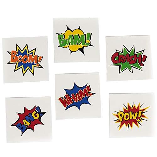 144 Piece Superhero 2 Tattoos Party Supplies - Superhero Party Favors