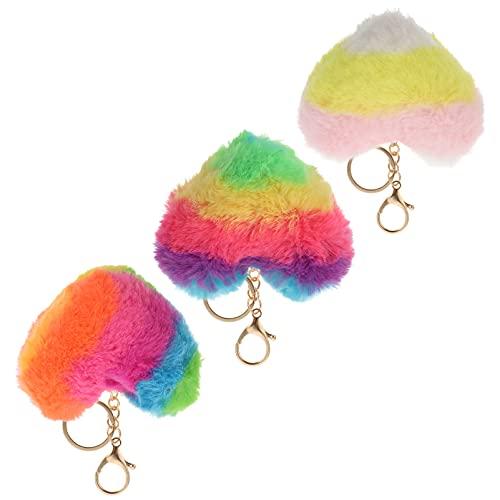 FAVOMOTO 3PCS Pom Pom Keychain Regenbogen Herz Faux Fur Fluffy Puff Ball Schlüsselbund Schlüsselbund Für Auto Geldbörse Rucksack Handtasche Farbe 2