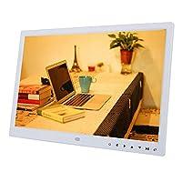 """デジタルフォトフレーム、15""""TFT LEDスクリーンタッチ1280x800HD解像度デスクトップディスプレイ画像、サポート音楽/TXT eBook/カレンダー/目覚まし時計/13言語機能、写真/MP3/4/ビデオプレーヤー(白い)"""