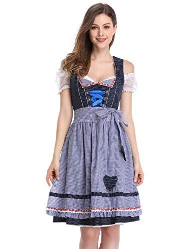 Womens 3 Piece German Dirndl Dress Costumes for Bavarian Oktoberfest Carnival