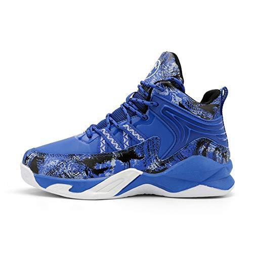 DAYATA Camouflage Print Basketball Schuhe für Kinder Jungen Outdoor Sneakers Kinder Sportschuhe, Blau - blau - Größe: 36 EU