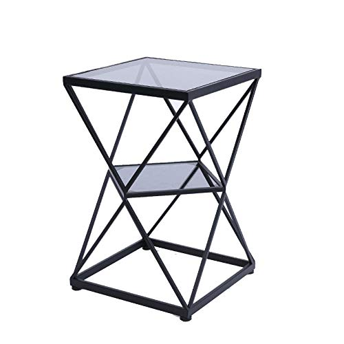 GLYYR Bedside Table Square Double 2 Tiered Glass Table Coffee Table Living Room Balcony Sofa Corner Table Rack Bedside Table-Clear_glass_black