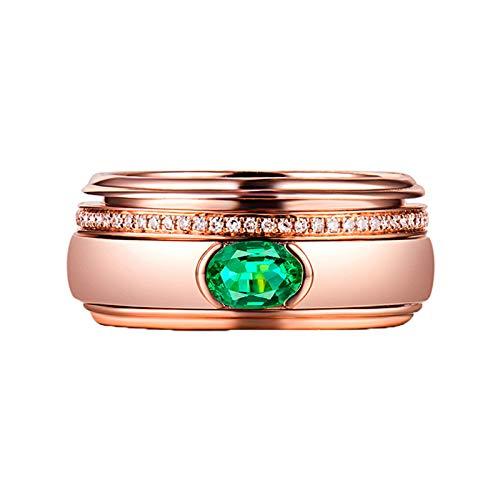 Bishilin Damen Eheringe 750 Echt, Bandring Breit mit 0.5ct Oval Smaragd Verlobungsringe Ehering Rosegold Diamant Große 56 (17.8)