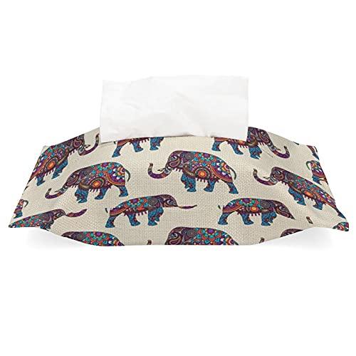 Funda de pañuelos para bolsas de pañuelos con diseño de elefantes de marcha, de algodón, de lino, desmontable, dispensador de pañuelos para casa, oficina, coche