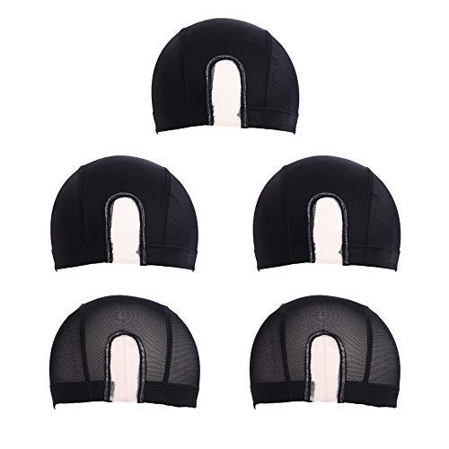 Gorra de peluca de cúpula de malla de 5 piezas Spandex redecilla elástica transpirable Hombres Mujeres Tejido negro Gorra de peluca de parte U para hacer pelucas