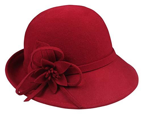 FEOYA Donna Cappello Vintage Lana Cerimonia Invernale Berretto Caldo Vino Rosso