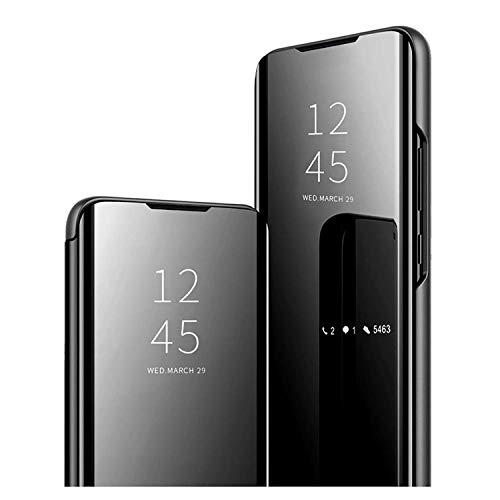 GOGME Funda para Xiaomi Redmi Note 10 4G / Redmi Note 10s, Mirror Funda Inteligente, PU/PC Flip Cover Case Espejo Enchapado Window View Protectora Carcasa con Soporte Plegable. Negro