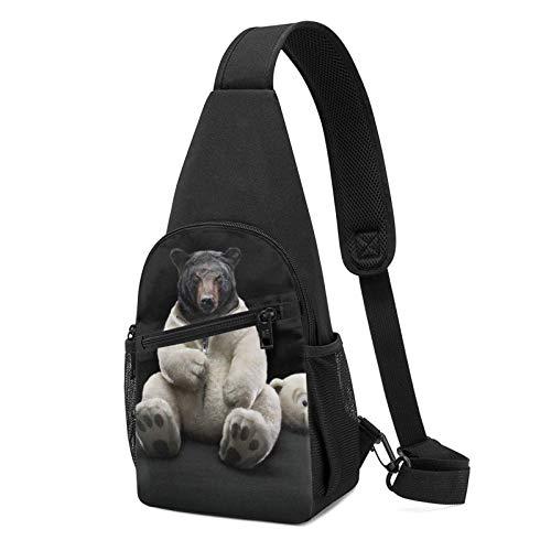 DJNGN Orso Divertente 4k Ultra Hd Wallpaper Sling Bag Crossbody Travel Escursionismo Chest Daypack
