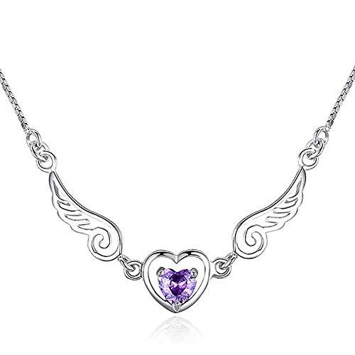 LadyGG Collar con colgante de alas de ángel, de plata de ley 925, ajustable, con alas de ángel, para mujer, joyería para madre e hija, regalo para mujer, amatista