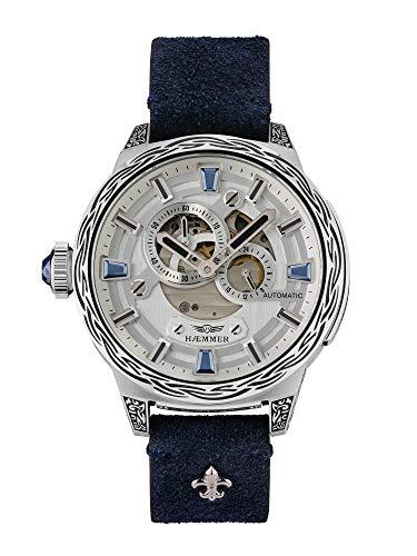 HÆMMER Blue Horizon Automatikuhr Damen aus Edelstahl   Exklusiv limitierte Damenuhr mit Kalbsleder Armband   Luxus-Uhr mit Inkgraved veredeltem Gehäuse