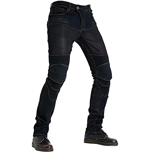 Mens Motorcycle Jean Pants, Anti-Fall Racing Riding Denim Pant Stretch Straight Fit Biker Jeans with Protective for Outdoor (Black-B,L)