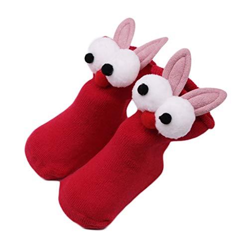 Sensail 0-2ans Chaussettes en coton de haute qualité bébé oreille verticale non-slip Cartoon oreille chaussettes chaussettes terry automne et hiver chaussettes confortables
