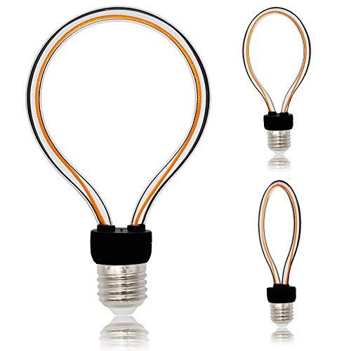 TIANFAN LED-Leuchtmittel, Retro-/Vintage-Stil, gebogen, LED-Glühfaden, 4 W, AC85–265 V, E27-Sockel, Edison-Glühbirne (G95)