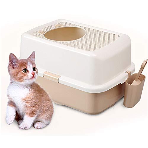 YAzNdom Kattentoilet met capuchon, kattentoilet Cat-Center-Box Scoop, grote gesloten binnentoilet Lu katten en honden kattentoilet met deksel