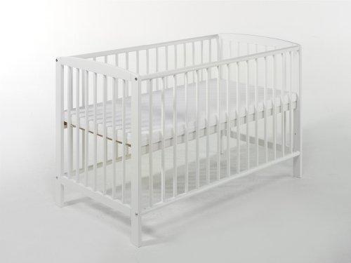 Ideen Lit avec barreaux en hêtre massif Blanc 60 x 120 cm