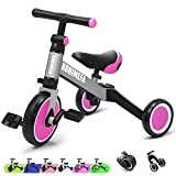 3 in 1 Kids Trike for Children 1-3 Years Old Kids Tricycle Boys Girls Baby Balance Bike 2 Wheels for Toddlers Tricycle with Removable Pedals, Pink