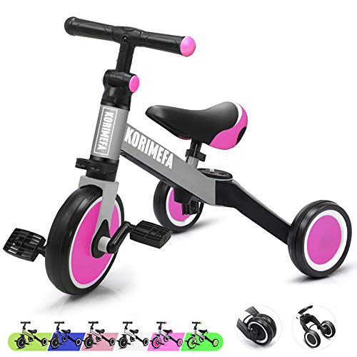 KORIMEFA 3 in 1 Kids Trike for Children 13 Years Old Kids Tricycle Boys Girls Baby Balance Bike 2 Wheels for Toddlers Tricycle with Removable Pedals Pink