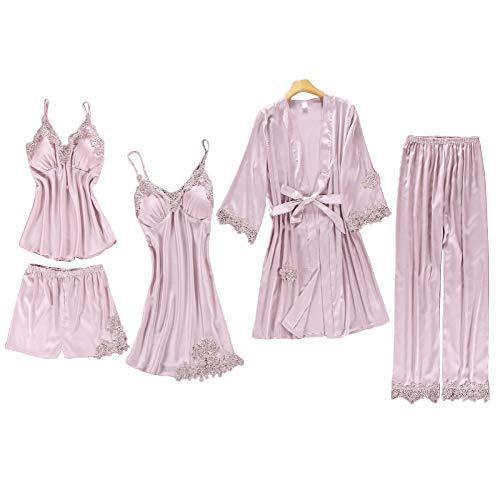 Chongmu Damen Pyjama Sexy Spitze Satin Nachtwäsche Einfarbig Seide Bademäntel 5 Stück Nachthemd V-Ausschnitt Cami