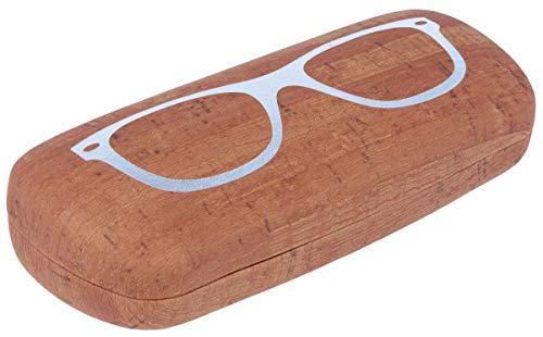 Luxe brillenkoker met harde schaal SASCHI met oppervlak in kurklook en zilveren brillenmotief bruin