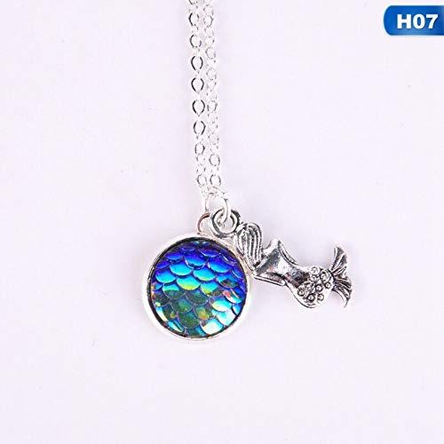 LWHRKSJC Collar De Sirena De La Escala De Peces Collar Mágico Espejo