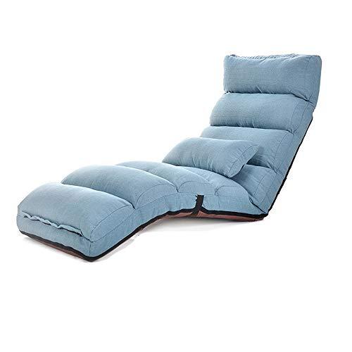 XING-ZI-LAZY-SOFA C-K-P Canapé-lit Un canapé-lit Japonais Pliant Chaise siège lit Balcon Balcon fenêtre Chaise Longue (Couleur : Bleu)