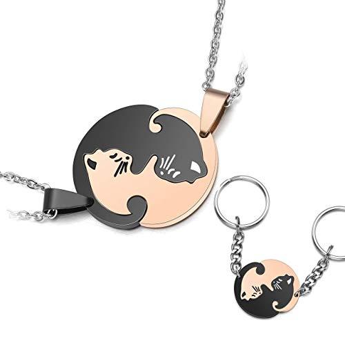Depruies Amulett zum öffnen 2 EIN Paar EIN Paar Geteilte Stück Puzzle kombinierte Keychain und Anhänger Halskette Katze Geschenke für Freunde Liebhaber, EIN Stück ist ohne einander Nicht vollständig