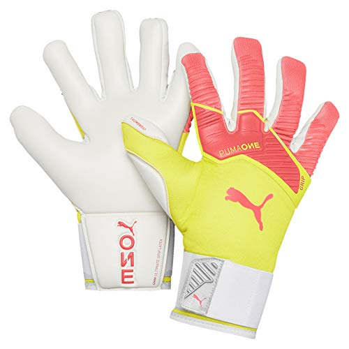 Puma One Grip 1 Hybrid PRO, Guanti Portiere Unisex-Adult, Nrgy Peach-Fizzy Yellow White, 7.5