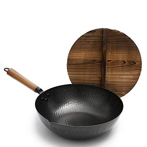 LULUDP Küche Pfannen Traditioneller, von Hand gehämmerter Eisenwok mit vorgefertigter Gusseisen-Wokpfanne aus Holz mit chinesischem Tannendeckel (12,6 Zoll, runder Boden), Schwarz Brat- Universalpfann