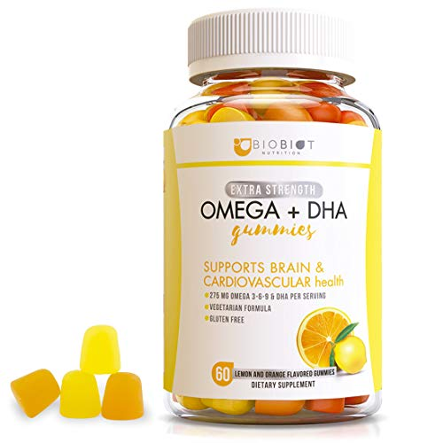 BIOBIOT Omega 3-6-9 & DHA Fish Oil Chewable Gummy Supplement with Algae, Chia & Coconut Oil for Kids & Adults - Supports Brain & Immune Functions - Vegetarian & Gluten-Free – 60 Gummies - Great Flavor