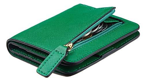 Toughergun Womens Rfid Blocking Small Compact Bifold Leather Pocket Wallet Ladies Mini Purse with ID Window (CH Green)