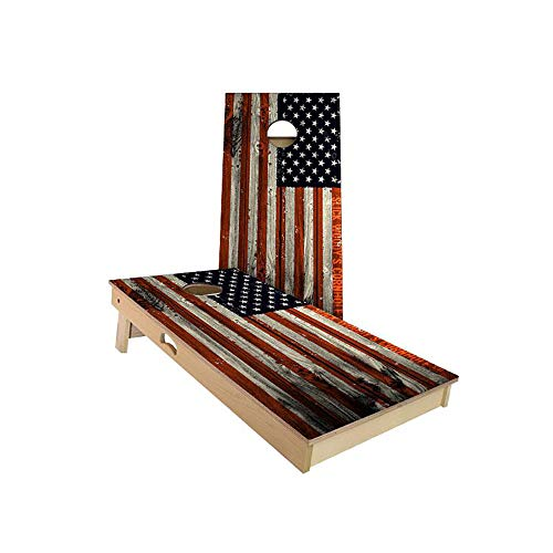 Slick Woody'S Verticle American Flag Cornhole Set with 8 Cornhole Bags, Baltic Birch Plywood Tops for The Smoothest Flattest Playing Surface, Retractable Legs and Back Bounce Brace